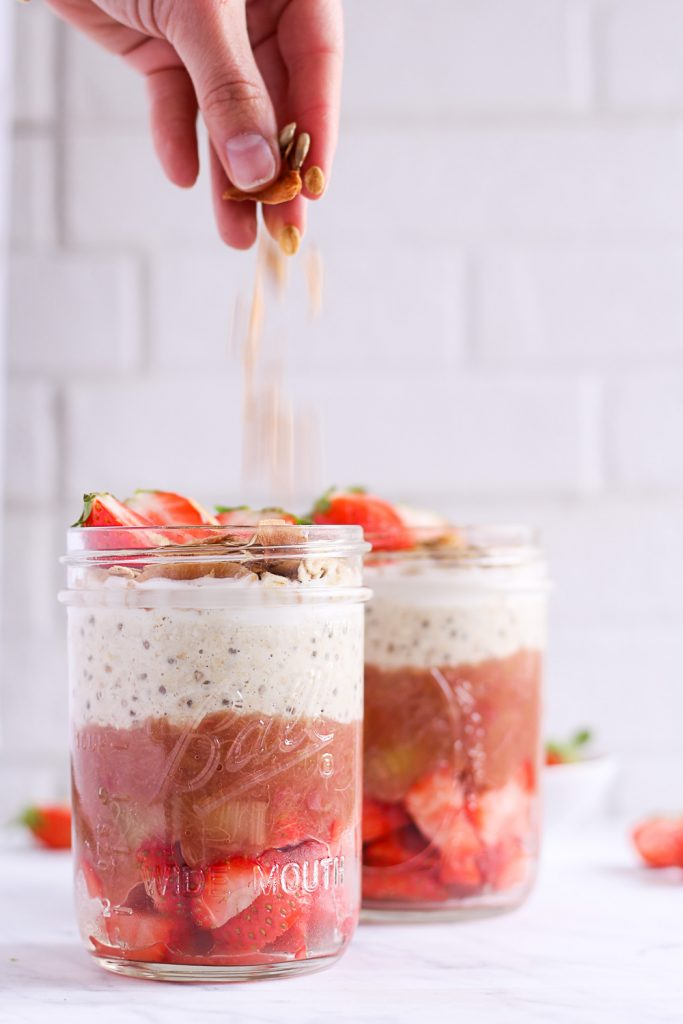 Rhubarb-Strawberry Parfait - plant-based, vegan, gluten free, refined sugar free - heavenlynnhealthy.com