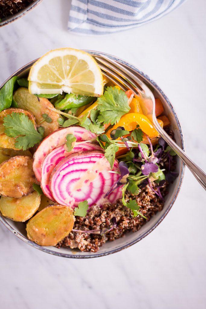 Spring Bowl with Lemon Tahini Dressing - plant-based, vegan, gluten free, refined sugar free - heavenlynnhealthy.com