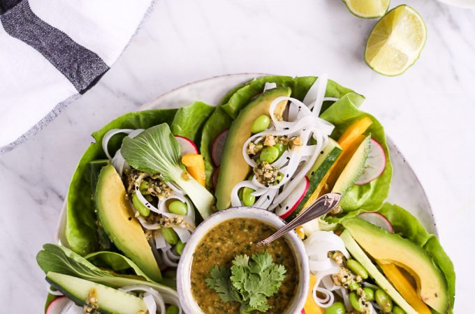 25 minute salad wraps with cashew-cilantro-dip - plant-based, vegan, gluten free, refined sugar free - heavenlynnhealthy.com