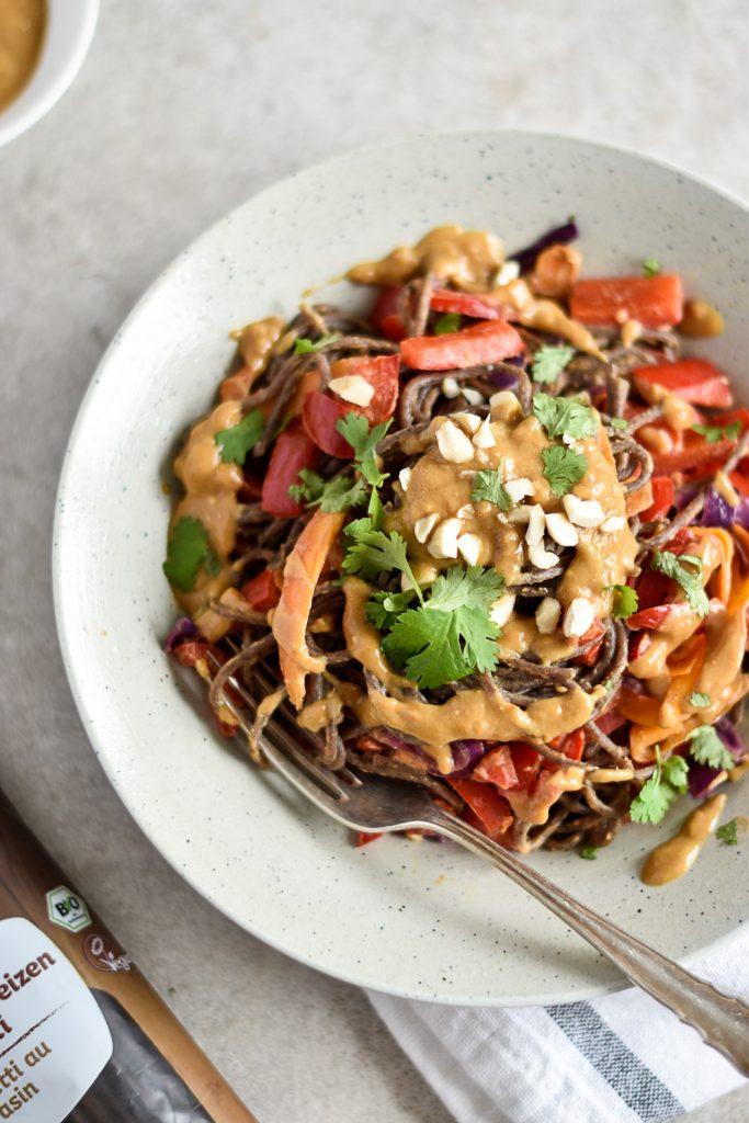 Easy buckwheat miso spaghetti - plant-based, vegan, gluten free, refined sugar free - heavenlynnhealthy.com