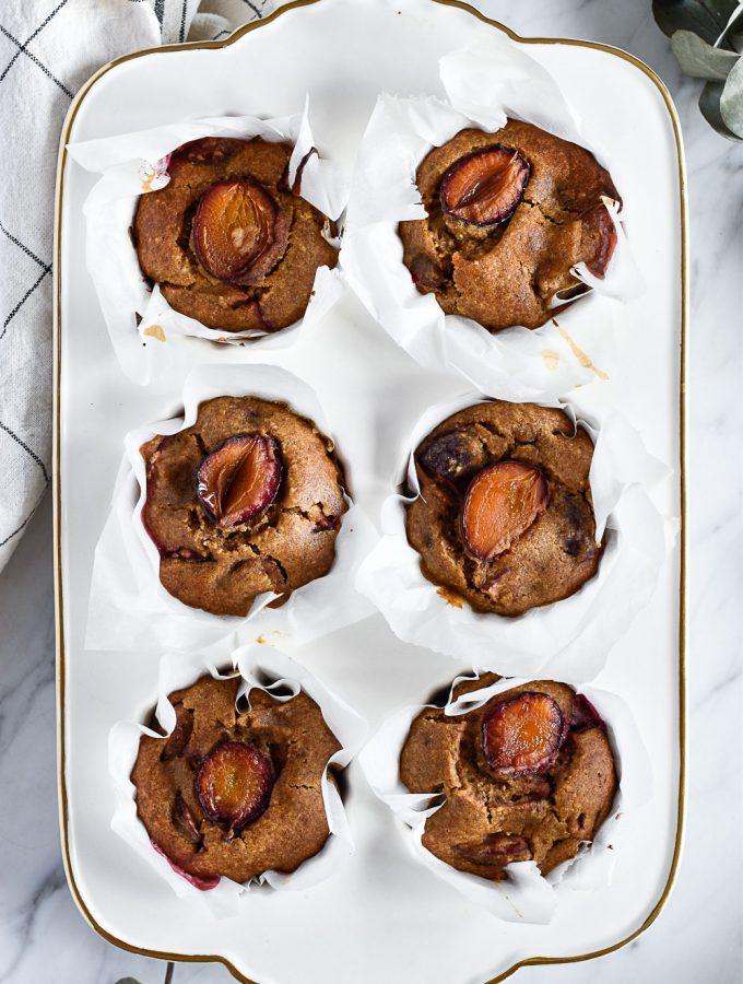 Healthy plum muffins - plant-based, vegan, gluten free, refined sugar free - heavenlynnhealthy.com