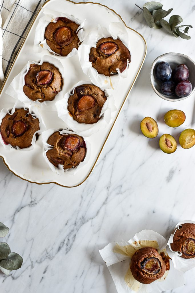 Healthy plum muffins - plant-based, vegan, gluten free, refined sugar free - heavenlynnhealthy.com