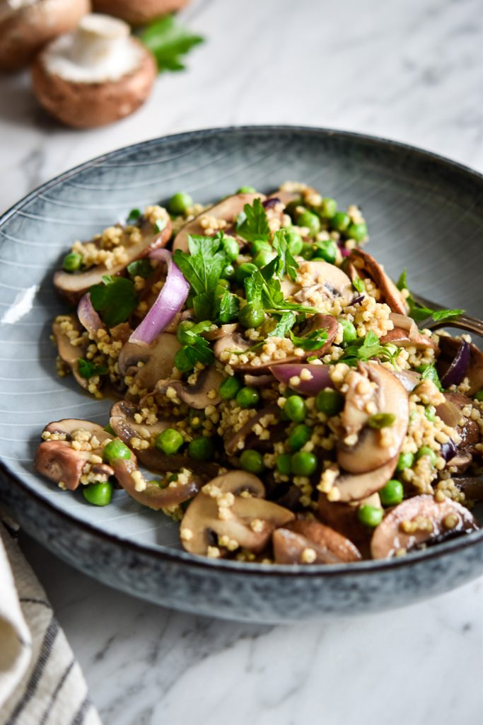 Quick Mushroom-Millet Stir-Fry - plant-based, vegan, gluten free, refined sugar free - heavenlynnhealthy.com