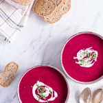 Roasted tomato soup with beetroot and rosemary