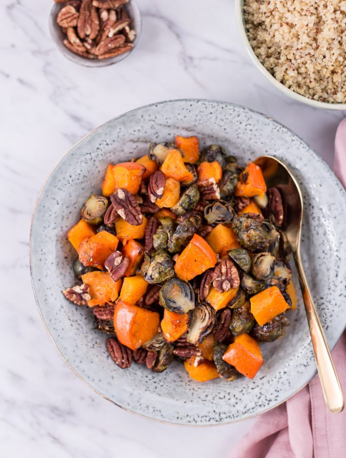 Winter Roasted Brussels Sprouts, Pumpkin & Pecans - plant-based, vegan, gluten free, refined sugar free - heavenlynnhealthy.com