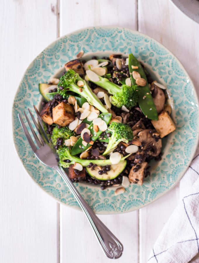 Asian Beluga Lentil Salad with Almond Tofu - plant-based, vegan, gluten free, refined sugar free - heavenlynnhealthy.com