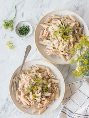 Creamy chanterelle pasta with cashew dill sauce