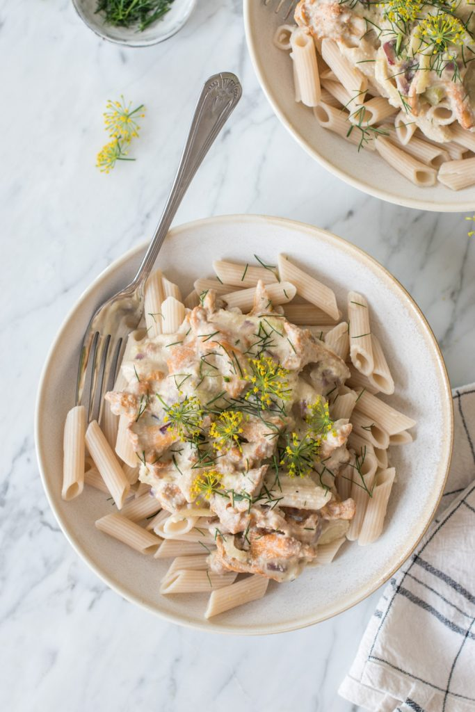 Creamy chanterelle pasta with cashew dill sauce - plant-based, vegan, gluten free, refined sugar free - heavenlynnhealthy.com