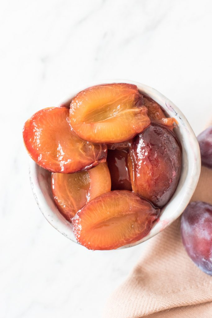 Gluten-free semolina pudding with stewed plums - plant-based, vegan, gluten free, refined sugar free - heavenlynnhealthy.com