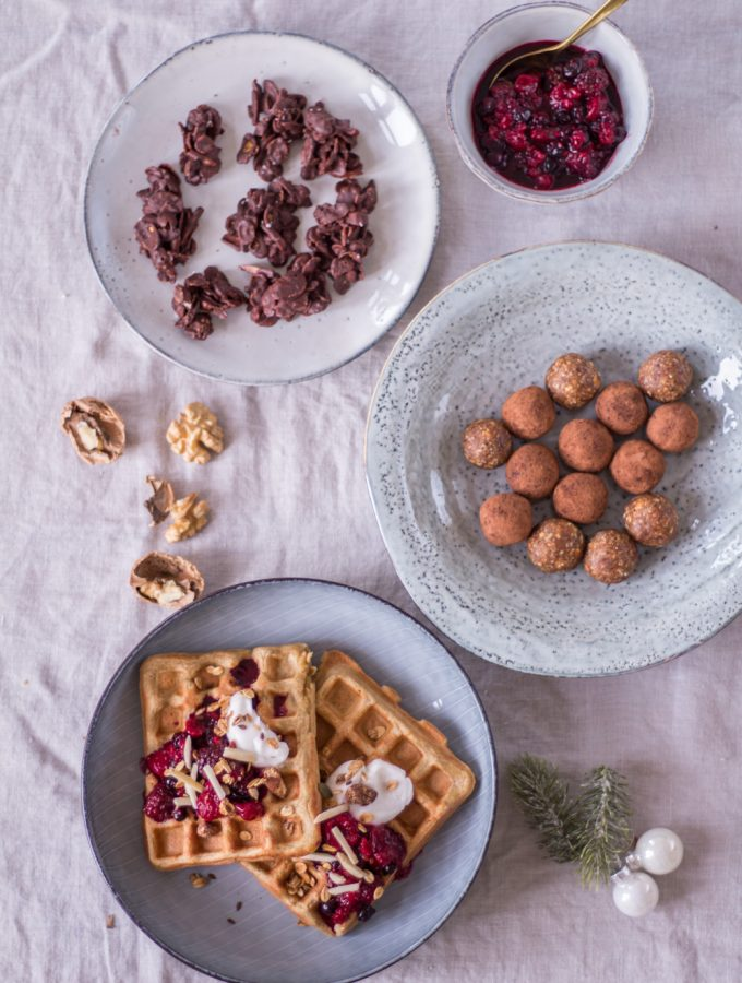 3 healthy Christmas desserts - Chai Waffles, Choco-Crossies and Christmas Energy Balls - plant-based, vegan, gluten free, refined sugar free - heavenlynnhealthy.com