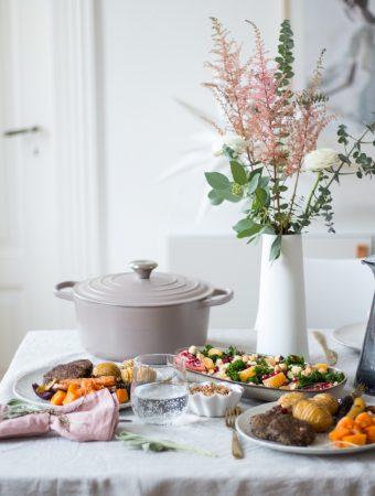 My healthy Christmas dinner menu 2018 – winter kale salad, lentil patties, hassleback vegetables and mini crumbles