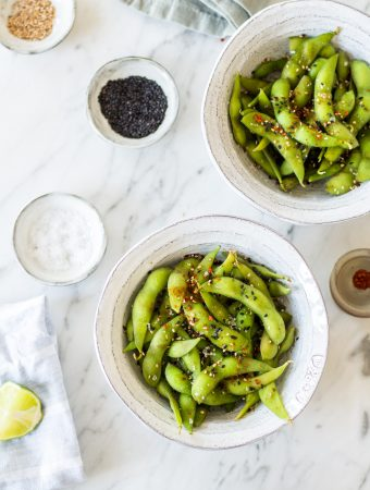 Edamame with sea salt and sesame seeds