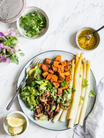 Seasonal asparagus spring bowl