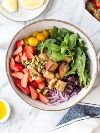Summer strawberry panzanella (Tuscan-inspired bread salad)