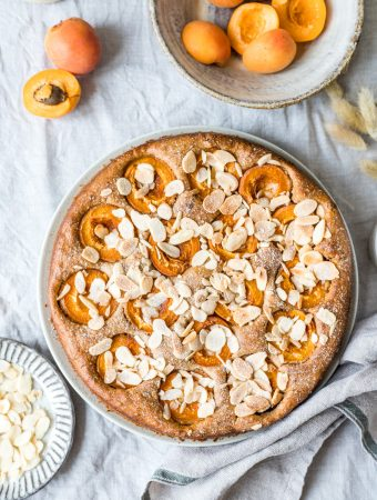Healthy apricot coffee cake